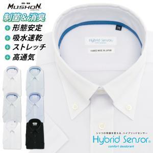 ワイシャツ 半袖 ニット ノーアイロン 形態安定 メンズ ストレッチ Yシャツ ビジネス 標準体 クールビズ ハイブリッドセンサー ボタンダウン[P16S1B008]|plateau-web