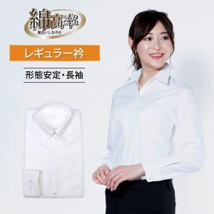 レディスシャツ長袖 レギュラーカラー 軽井沢シャツ P31KZA332|plateau-web