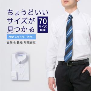 ワイシャツ メンズ 長袖 白 形態安定 形状記憶 Yシャツ 大きいサイズ 就活 冠婚葬祭 レギュラーカラー Y12CAR101|plateau-web