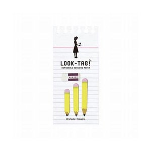 LOOK TAG!   えんぴつと消しゴムの小さなふせん。 ノートや本にお洒落に目印。 スクラップブ...