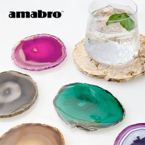amabro CRYSTAL COASTER アマブロ クリスタルコースター 天然石 メノウ 瑪瑙 ギフト コースター 石|play-d-play
