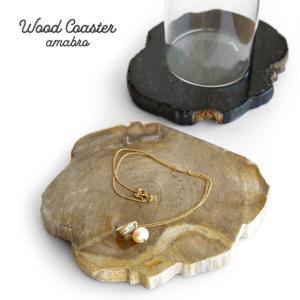 アマブロ ウッドコースター amabro WOOD COASTER ナチュラル/ブラック 珪化木 化石 アクセサリートレイ|play-d-play