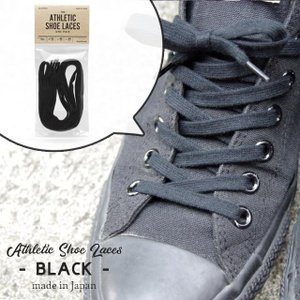 Athletic Shoe Laces BLACK アスレチック シューレース ブラック This is... ディスイズ コットン 32/45/54inch|play-d-play