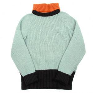 エンポリオアルマーニEMPORIO ARMANI ハイネックセーター 水色オレンジ黒48