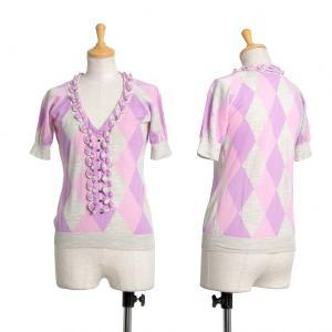 ルイヴィトンLouis Vuitton コード装飾ダイヤ切替半袖カットソー ピンク杢グレーS