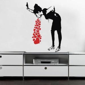 送込 海外 バンクシー アート  壁 ウォールステッカー 女 80cm x 58cm【領収発行可】 playone