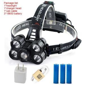 3 * 18650電池用USB充電式5 * CREEのXML-T6 LEDヘッドライト40000ルーメンヘッドランプズーム可能なヘッドライト屋外ランプ|playone