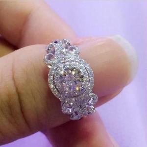 レディース CZダイヤモンドリング プリンセス風パヴェエンゲージリング キュービックジルコニア指輪 ...