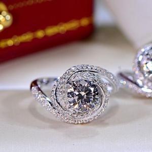 レディース CZダイヤモンドエンゲージリング 螺旋デザインキュービックジルコニア指輪 Silver9...