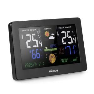 KKmoon 多機能ワイヤレス気象ステーション 天気予報クロック 屋内屋外温度計 湿度計 新品 playone