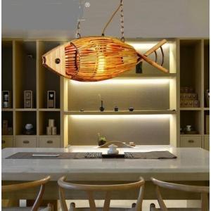 ジャパニーズスタイル 魚 バンブー ペンダントライト 和風 アジアンテイスト LED ルームライト スタイリッシュ 木製 天井照明 playone