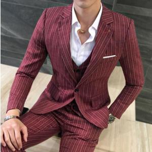 商品名:ストライプ柄 ビジネススーツ 3ピーススーツ 3点セット メンズスーツ セットアップ フォー...