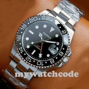 40mm PARNIS black dial Sapphire glass Ceramic bezel GMT automatic mens watch 338 playone