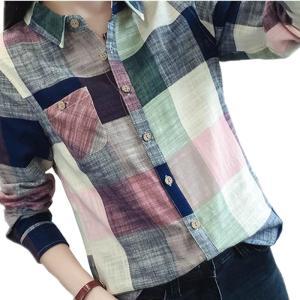 商品名:お得! カジュアル Plaid 女性 Blouses 着物 Vintage Linen コッ...