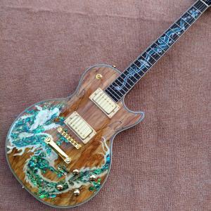 新しい高品質カスタムlpエレキギター、アワビ恐竜象眼指板&ボディカスタムlpエレキギター|playone