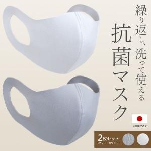 マスク 日本製 洗える 2枚入 ホワイト グレー 布マスク 抗菌 エアロシルバー AG SEK 吸湿...