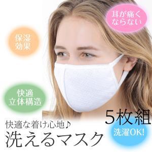 マスク 布マスク 洗えるマスク 立体マスク 花粉症 白 ホワイト 5枚組セット 活性炭入り 風邪予防...