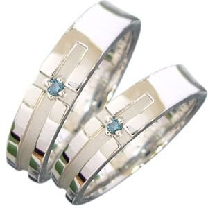マリッジリング ブルーダイヤモンド0.02Ct付きK18WGクロス リング plejour