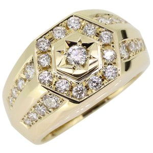 メンズ ダイヤモンド リング 18金 印台 指輪 ダイヤモンドリング plejour