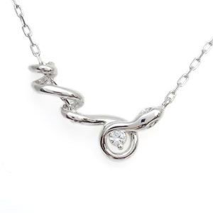 プラチナ ネックレス ダイヤモンド レディース シンプル 蛇ペンダント クリスマス ポイント消化|plejour