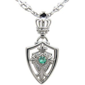 百合の紋章 クロスネックレス シルバー 王冠 誕生石 ペンダント メンズ ネックレス|plejour