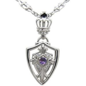 クロスネックレス シルバー メンズ ネックレス 百合の紋章 王冠 誕生石 ペンダント|plejour
