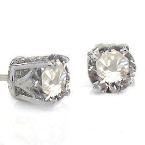 ダイヤモンド 18K 一粒 1カラット シンプル 18金 ピアス