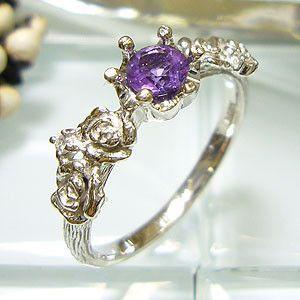 アメシスト プラチナ ダイヤモンド リング 指輪