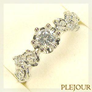 婚約指輪 プラチナリング ダイヤモンド 花柄 エンゲージリング