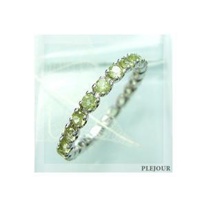 プラチナ エタニティリング ペリドット ピンキー リング 指輪|plejour