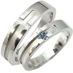 結婚指輪 ブルートパーズ リング クロスリング k18ゴールド マリッジリング|plejour