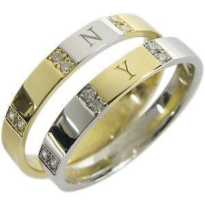 ペアリング プラチナ K18 イニシャルリング 結婚指輪 マリッジリング|plejour