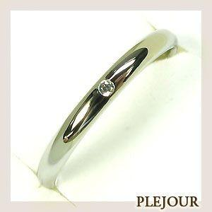 K18WG シンプル ダイヤモンド リング マ結婚指輪 安い リッジリング plejour