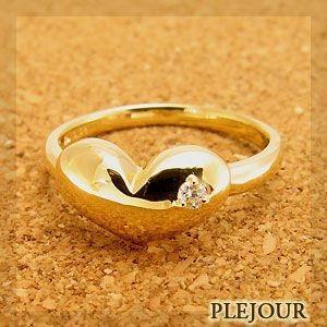 ピンキーリング K18ハート ダイヤモンド リング シンプル 一粒 指輪 ファランジリング plejour