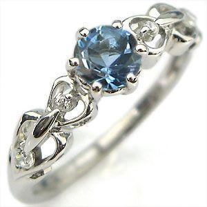 婚約指輪 サンタマリアアクアマリン リング K10 一粒 ハート エンゲージリング|plejour