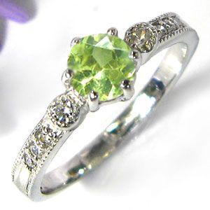 婚約指輪 安い ペリドット リング 18金 一粒 エンゲージ...