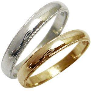 ペアリング 甲丸 結婚指輪 18金 ミル打ち マリッジリング|plejour