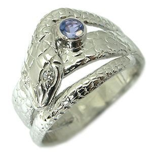 プラチナ タンザナイトリング スネーク 蛇 指輪