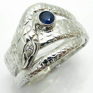 サファイア スネークリング 18金 蛇 指輪 plejour