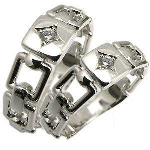 ペアリング シルバー ダイヤモンドリング 0.10ct ダイヤ リング