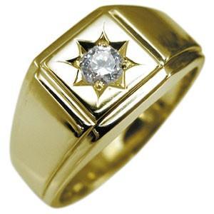 印台リング 18金 メンズリング 地金 ダイヤモンドリング ダイヤ 指輪|plejour