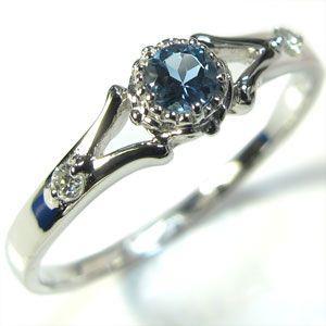 アクアマリンサンタマリア 一粒リング 18金 婚約指輪 エンゲージリング|plejour