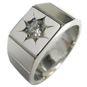 プラチナ 印台 指輪 メンズ リング ダイヤモンド 一粒 pt900 plejour