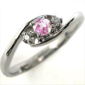 ピンクサファイア エンゲージリング K10 婚約指輪 一粒 指輪|plejour