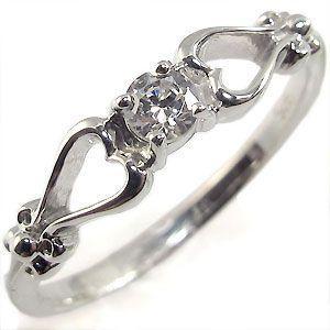 プラチナ リング ハート 一粒 ダイアモンド 指輪|plejour