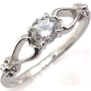 K18 ダイヤモンド エンゲージリング 一粒 ハート 婚約指輪 安い|plejour