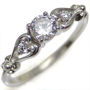 プラチナ ダイヤモンド 一粒 ハート ダイアモンドエンゲージリング 婚約指輪|plejour