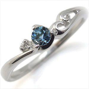 アクアマリンサンタマリア リング K10 一粒 シンプル 指輪|plejour