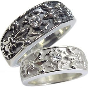 天然ダイヤモンド 指輪 シルバー リング 百合の紋章 クロス リング ペアリング|plejour