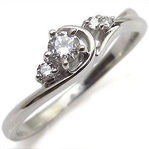 ダイヤモンド エンゲージリング 18金 婚約指輪 安い 一粒 ダイアモンドリング|plejour